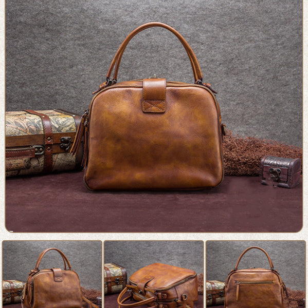 Full Grain Leather Women Handbags, Handmade Satchel Bag A0120 - ROCKCOWLEATHERSTUDIO