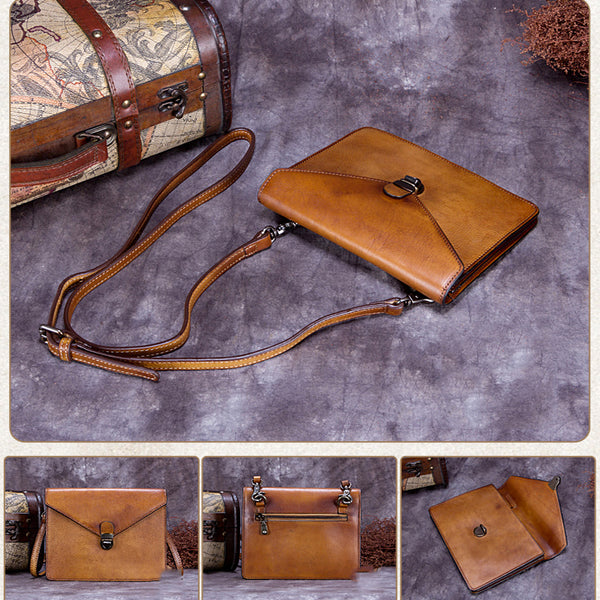 Vintage Handmade Leather Satchel Bag, Shoulder Bag, Purses For Women A0178 - ROCKCOWLEATHERSTUDIO