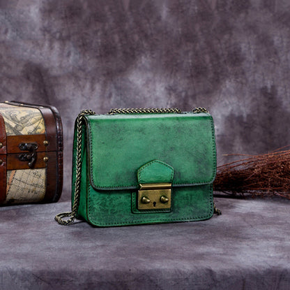 Handmade Leather Shoulder Bag, Vintage Satchel Bag For Women A0179