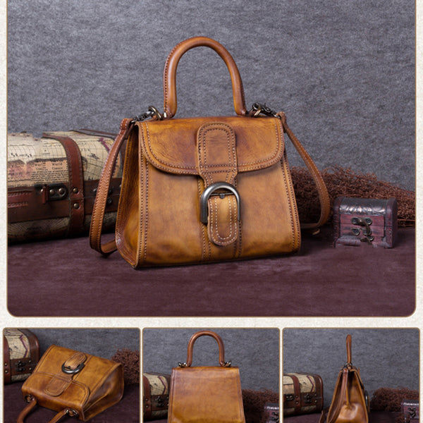 Vintage Full Grain Satchel Bag, Messenger Crossbody Bag, Women Leather Handbag A0145