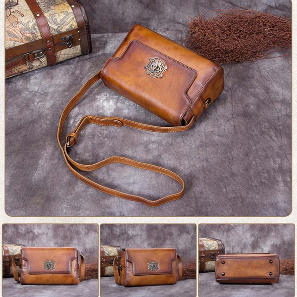 Handmade Full Grain Leather Satchel Bag, Printed Shoulder Bag A0200 - ROCKCOWLEATHERSTUDIO