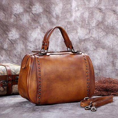 Full Grain Leather Satchel Bag, Laptop Shoulder Bag, Women Handbag A0212