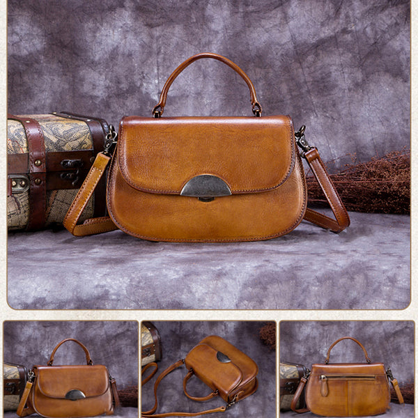 Vintage Full Grain Leather Satchel Bag, Crossbody Shoulder Bag, Handbag For Women A0172 - ROCKCOWLEATHERSTUDIO