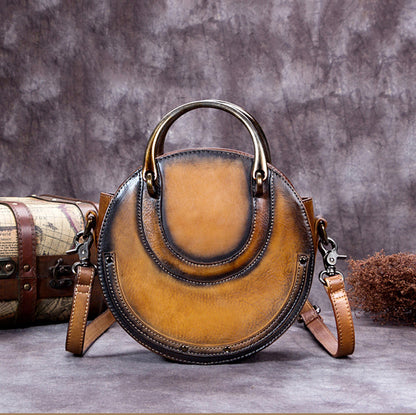 Handmade Vintage Full Grain Leather Round Handbag, Women Satchel Bag A0196