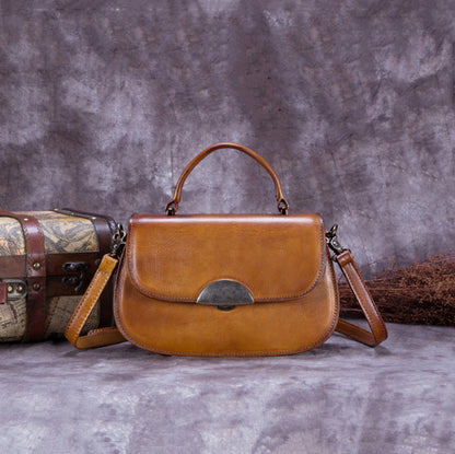 Vintage Full Grain Leather Satchel Bag, Crossbody Shoulder Bag, Handbag For Women A0172