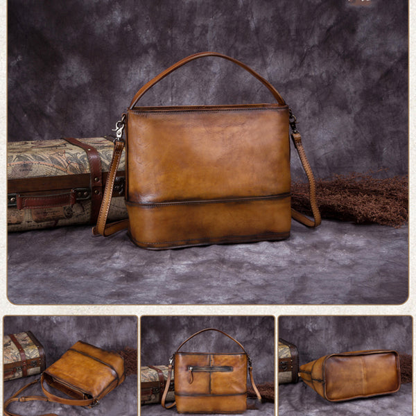Vintage Handmade Leather Satchel Bag, Women Handbags WF820