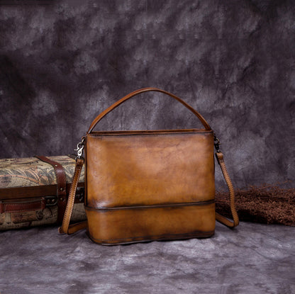 Vintage Handmade Leather Satchel Bag, Women Handbags A0157