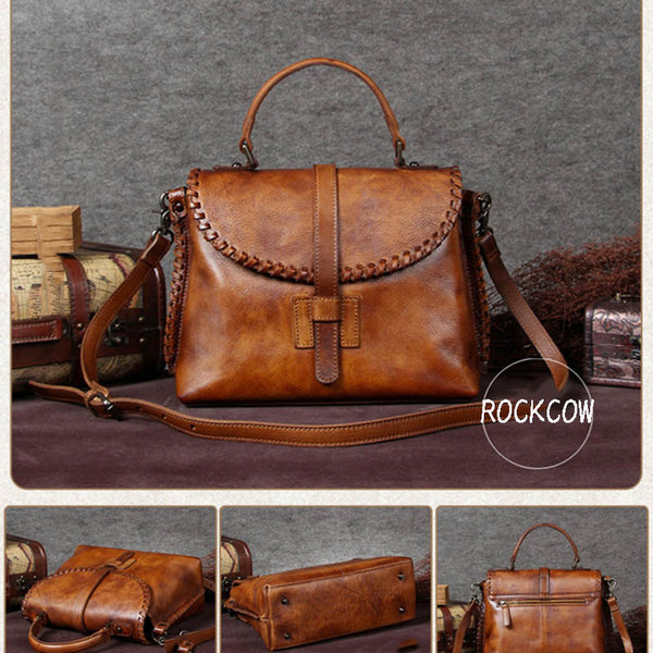 Handmade Leather Women Handbag, Messenger Satchel Bag A0005 - ROCKCOWLEATHERSTUDIO