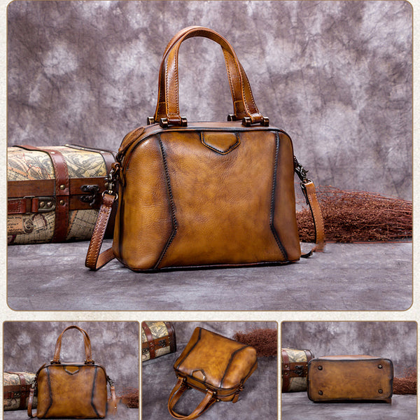 Handmade Full Grain Leather Satchel Bags, Designer Handbags For Women A0204 - ROCKCOWLEATHERSTUDIO