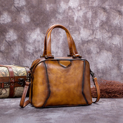 Handmade Full Grain Leather Satchel Bags, Designer Handbags For Women A0204