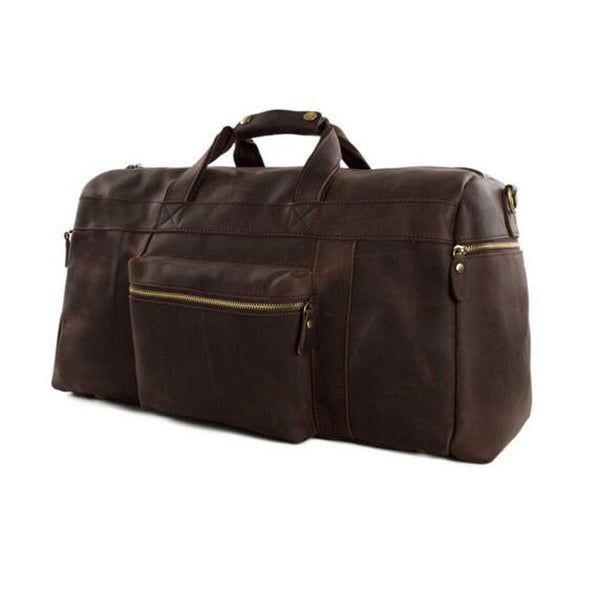 Vintage Full Grain Leather Large Capacity Travel Luggage Men Duffle Gym Bags 1098 - ROCKCOWLEATHERSTUDIO