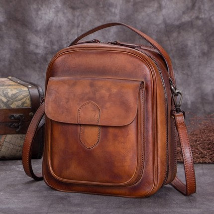 Full Grain Leather Satchel Bags, Laptop Shoulder Bag, Women Handbag A0228 - ROCKCOWLEATHERSTUDIO