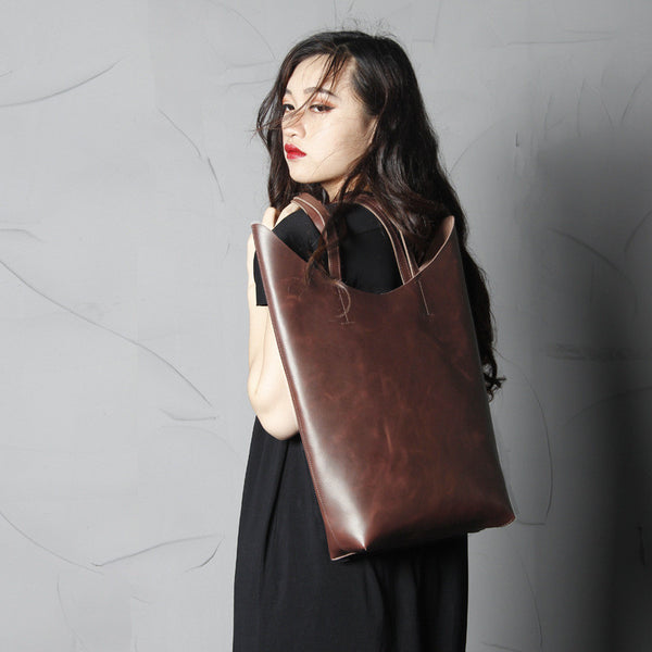 Handmade Leather Shoulder Bag, Shopping Bag Tote Bag For Women SCY13 - ROCKCOWLEATHERSTUDIO