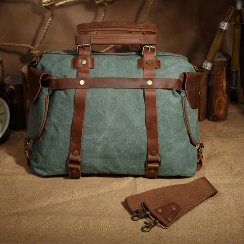 "High-End Canvas & Italian Leather Messenger Bag - 17"" Laptop Shoulder Bag 1801 - ROCKCOWLEATHERSTUDIO"