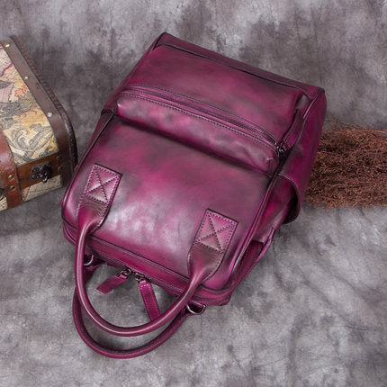 Full Grain Leather Ladies Satchel Bag, Vintage Woman Backpack, Shoulder Bag A0227 - ROCKCOWLEATHERSTUDIO