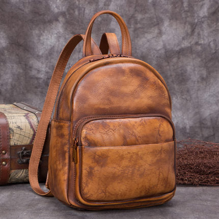 Full Grain Leather Ladies Backpack, Women Backpack, College Backpack A0270 - ROCKCOWLEATHERSTUDIO