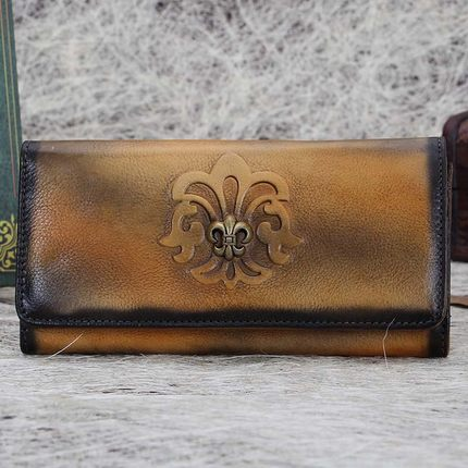 Full Grain Printed Leather Wallet, Vintage Women Wallet, Card Holder, Long Wallet A0021 - ROCKCOWLEATHERSTUDIO