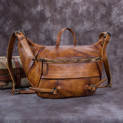 Full Grain Mens Leather High Quality Crossbody Shoulder Bag Messenger Shoulder Bag A0181 - ROCKCOWLEATHERSTUDIO