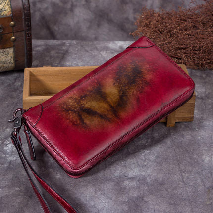 Full Grain  Leather Wallet, Vintage Women Wallet, Card Holder, Long Wallet A0199 - ROCKCOWLEATHERSTUDIO