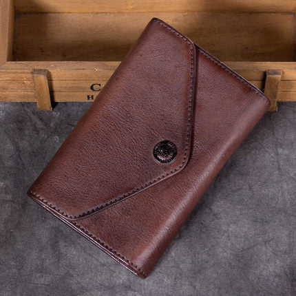 Full Grain Leather Wallet, Vintage Women Wallet, Card Holder, Long Wallet A0219 - ROCKCOWLEATHERSTUDIO