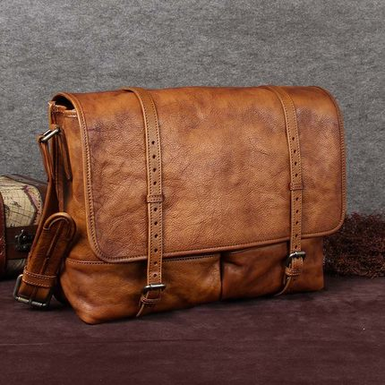Handcrafted Genuine Full Grain Leather Messenger Shoulder Bag A0110 - ROCKCOWLEATHERSTUDIO