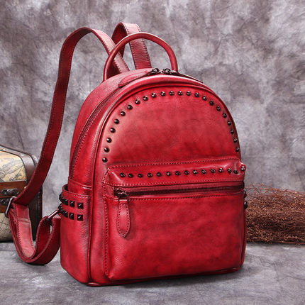 Full Grain Leather Ladies Satchel Bag, Vintage Woman Backpack, Shoulder Bag A0209 - ROCKCOWLEATHERSTUDIO