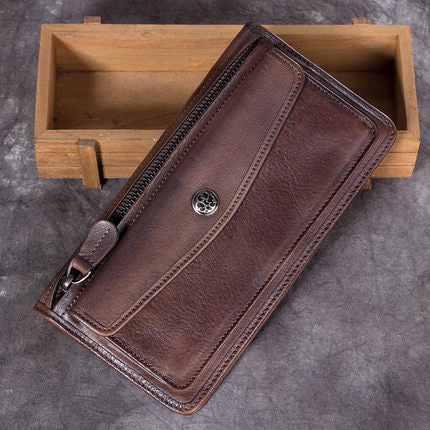 Full Grain Leather Wallet, Vintage Women Wallet, Card Holder, Wallethub Long Wallet A0224 - ROCKCOWLEATHERSTUDIO