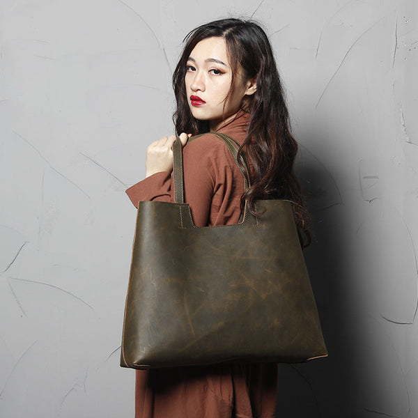 ... Handmade Genine Leather Tote Bag dcc24e9e2c80b