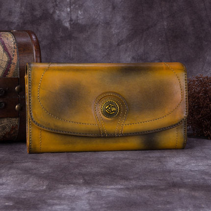 Full Grain Leather Wallet, Vintage Women Wallet, Card Holder, Long Wallet A0165 - ROCKCOWLEATHERSTUDIO