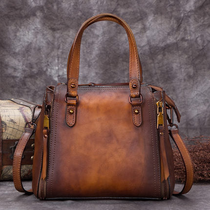Full Grain Leather Satchel Bags, Laptop Shoulder Bag, Women Handbag A0269 - ROCKCOWLEATHERSTUDIO
