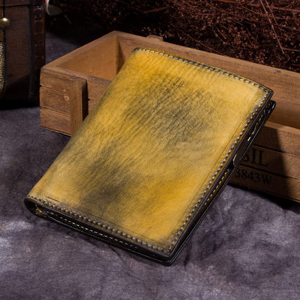Handmade Full Grain Leather Wallet, Card Holder, Man Short Wallet A0151 - ROCKCOWLEATHERSTUDIO