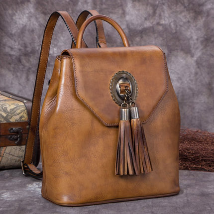 Full Grain Leather School Backpack, Vintage Shoulder Travel Bag A0237 - ROCKCOWLEATHERSTUDIO