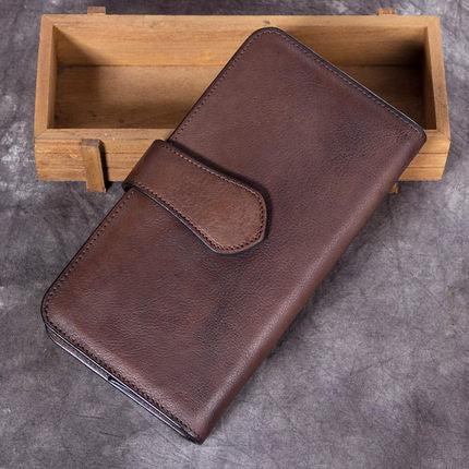 Full Grain Leather Wallet, Vintage Women Wallet, Card Holder, Long Wallet A0222 - ROCKCOWLEATHERSTUDIO