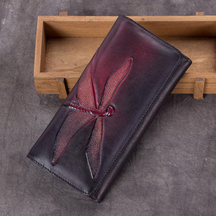 Full Grain  Printed Leather Wallet, Vintage Women Wallet, Card Holder, Long Wallet A0210 - ROCKCOWLEATHERSTUDIO