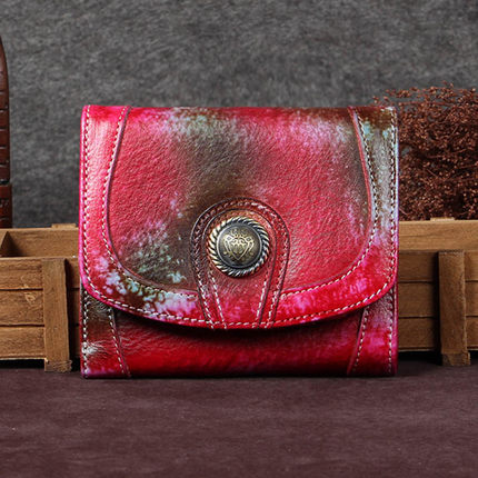 Vintage Style Full Grain Leather Wallet, Long Purse, Money Wallet A0058