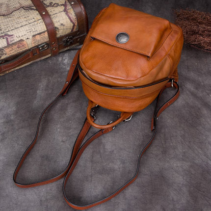 Full Grain Leather School Backpack, Vintage Shoulder Travel Bag A0266 - ROCKCOWLEATHERSTUDIO