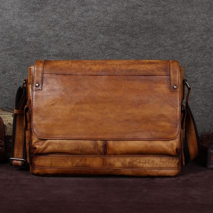 Handcrafted Genuine Full Grain Leather Messenger Shoulder Bag A0118 - ROCKCOWLEATHERSTUDIO