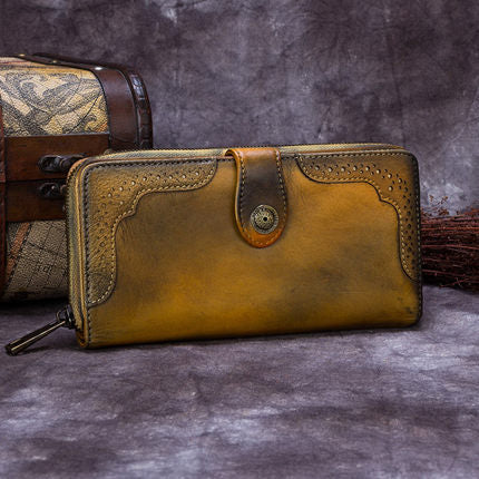 Vintage Style Full Grain Leather Wallet, Long Purse, Money Wallet A0085