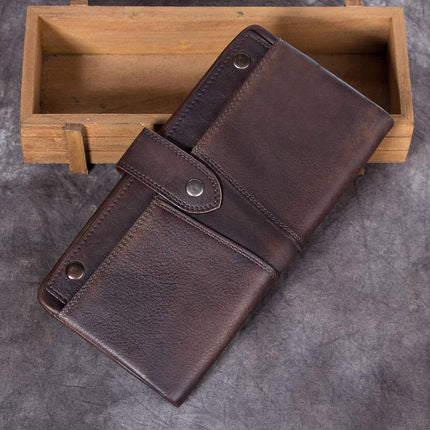 Vintage Full Grain Leather Wallet, Women Long Wallet, Ladies Clutch, Card Holder A0225 - ROCKCOWLEATHERSTUDIO