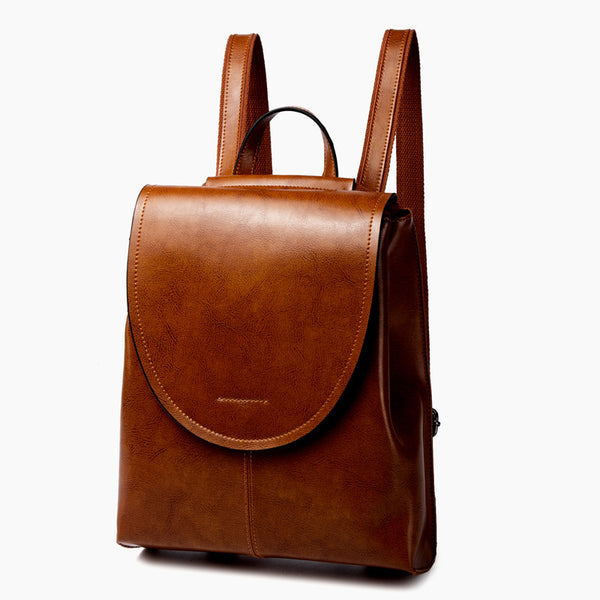 Top Grain Leather Backpack Women City Backpack Natural Cowhide Leather Travel Backpack Stylish Shoulder Bag Christmas Gift SX2612-1