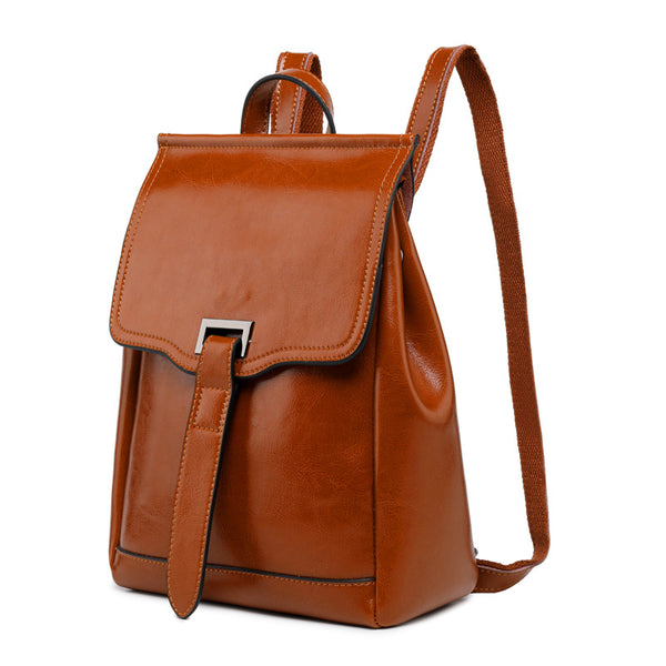 Top Grain Leather Backpack Women Travel Backpacks Natural Cowhide Leather Rucksack City Backpack Gift For Her SXA-1290