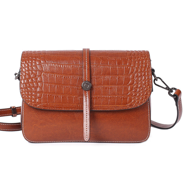 Top Grain Leather Croc Embossed Crossbody Bag Women Leather Shoulder Bag Vintage Style Natural Cowhide Messenger Bag Christmas Gift For Her SX2318