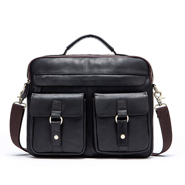 Top Grain Men's Leather Handbag, Retro Men's Shoulder Bag, Genuine Leather Briefcase 8001