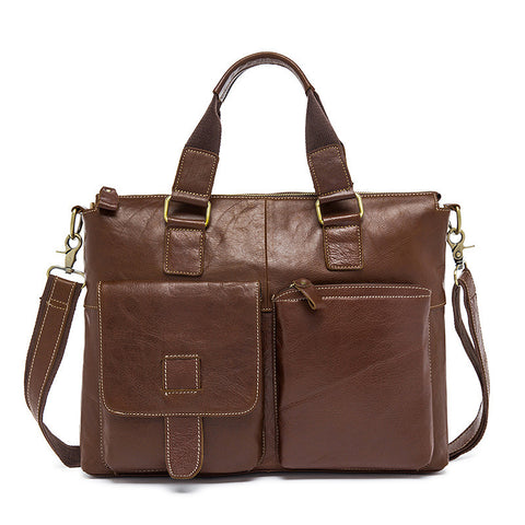 Top Grain Men's Vintage Leather Bag, Business Leather Briefcase, Men's Casual Handbag 260