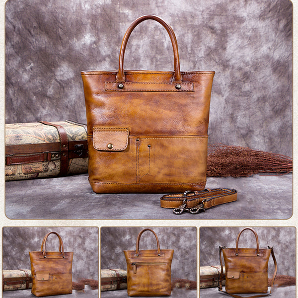 Full Grain Leather Tote Bag, Shopper Shoulder Bag, Women Handbags A0207 - ROCKCOWLEATHERSTUDIO
