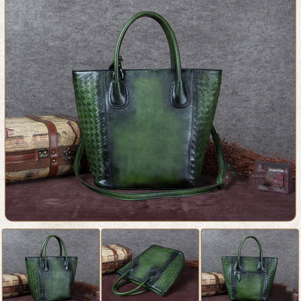 Handmade Vintage Leather Women Tote Bag, Shopper Bag, Ladies Handbag A0140 - ROCKCOWLEATHERSTUDIO