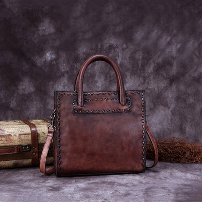 Vintage Leather Tote Bag, Designer Shoulder Bag, Women Handbags A0161
