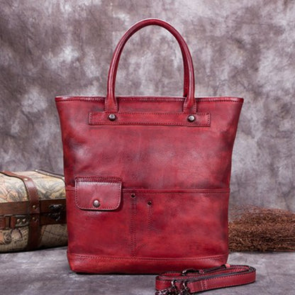 Full Grain Leather Tote Bag, Shopper Shoulder Bag, Women Handbags A0207