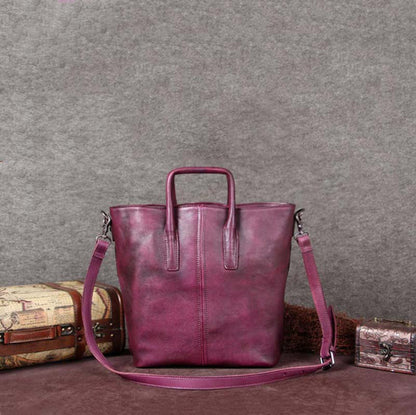 Vintage Full Grain Leather Women Tote Bag, Shopper Bag, women Handbag A0047