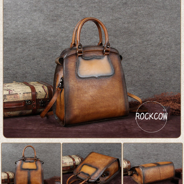 Vintage Full Grain Leather Tote Bag, Shopper Bag, Handbags For Women A0116 - ROCKCOWLEATHERSTUDIO